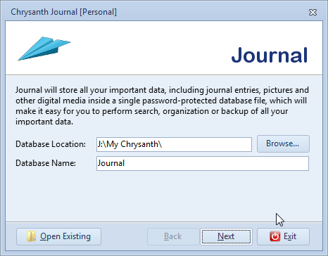 Determine new journal database location and name